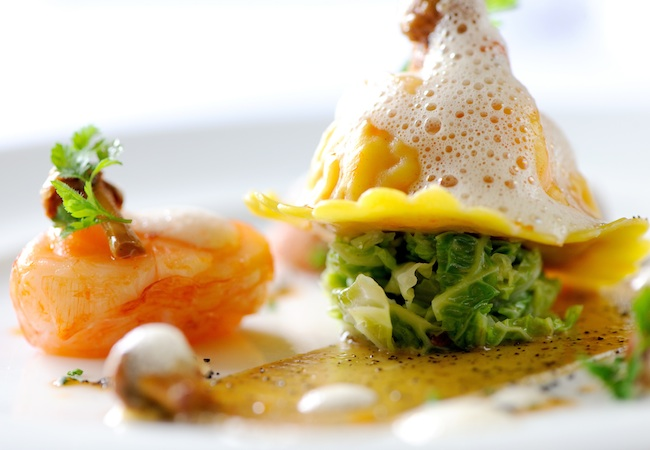 Chef Michael Caines | Raviolo of lobster with cabbage and girolle mushrooms © Gidleigh Park