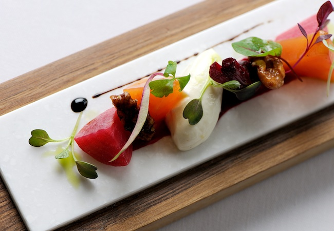 Chef Michael Caines | Salad of garden beetroot with goat's cheese mousse and caramelised walnuts © Gidleigh Park