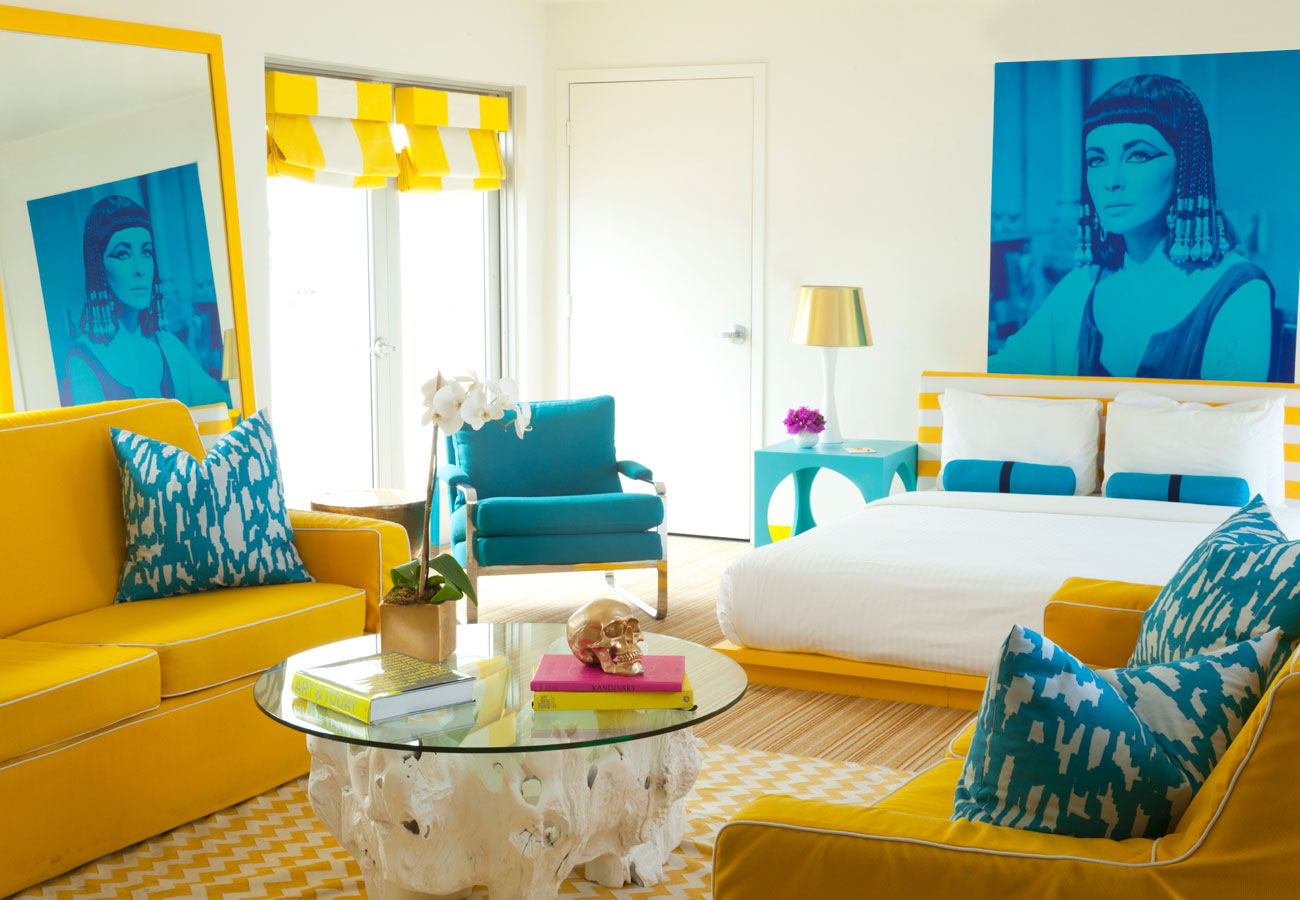 The Penthouse suite complete with portrait of Elizabeth Taylor as Cleopatra Lords South Beach